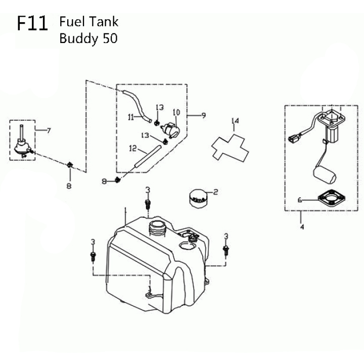 11f - fuel tank for 50cc