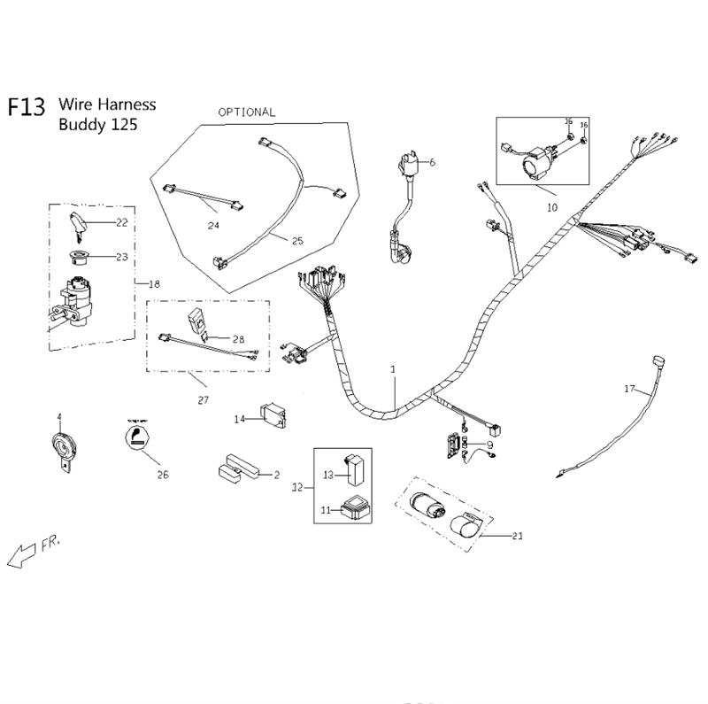 f13 wiring harness for 125cc 150cc genuine buddy  scooter dynasty, llc is an authorized hyosung, tgb, kymco, sym, lance, ssr, and genuine dealer all trademarks on the site are the property of their