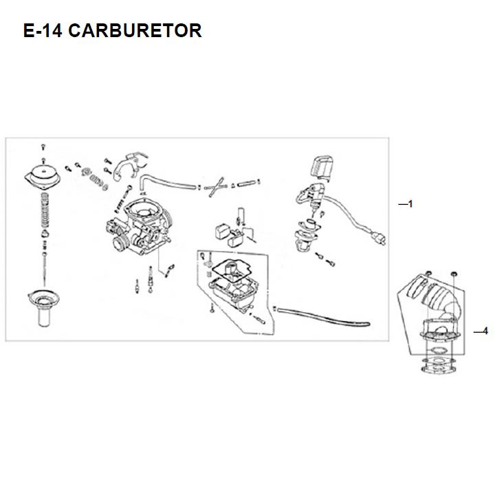 E14 - Carburetor for 50cc Lance, SYM Scooters  Cc Scooter Carburetor Diagram on